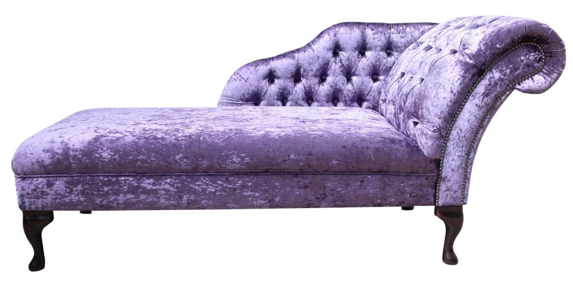 Chesterfield Chaise Lounge Day Bed Shimmer Grape Velvet