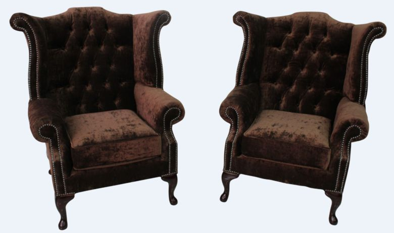 2 x Chesterfield Queen Anne High Back Wing Chairs Modena Dark Brown Velvet
