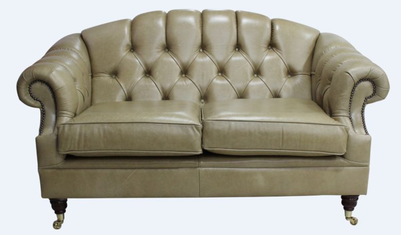 Chesterfield Victoria 2 Seater Leather Sofa Settee Old English Sand Leather