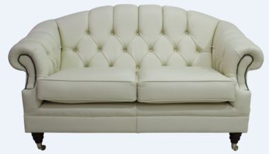 Victoria 2 Seater Chesterfield Leather Sofa Settee Cream Leather