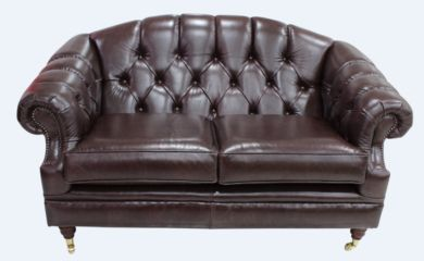 Chesterfield Victoria 2 Seater Leather Sofa Settee Old English Dark Brown Leather