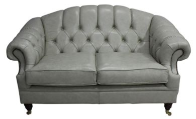Victoria 2 Seater Chesterfield Leather Sofa Settee Stella Ice Leather