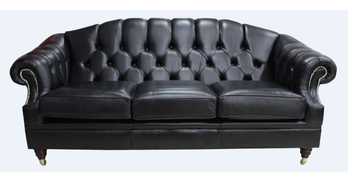 Black Victoria 3 Seater Chesterfield Sofa Designersofas4u