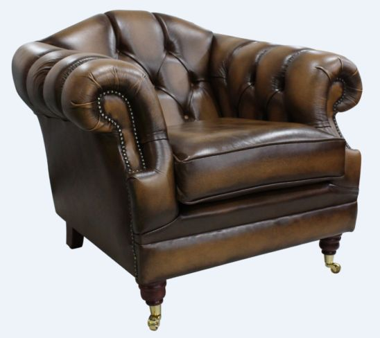 Chesterfield Victoria Leather Armchair Antique Tan