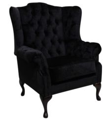 Chesterfield Westminster Fabric Mallory Flat Wing High Back Wing Chair Black Fabric