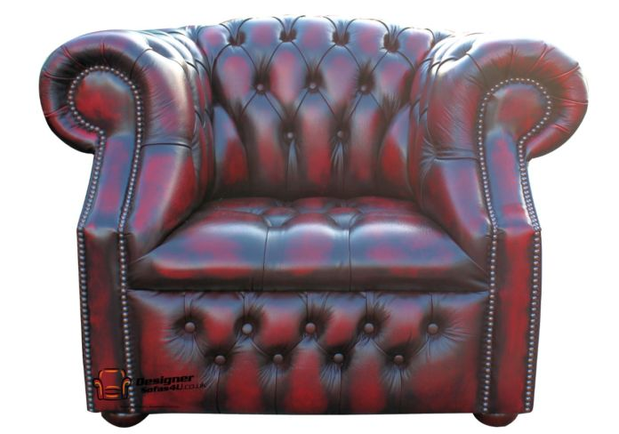 Chesterfield Windsor Club Armchair Button Seat Antique Oxblood Leather
