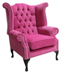 Chesterfield Fabric Queen Anne High Back Wing Chair Pimlico Fuchsia Pink