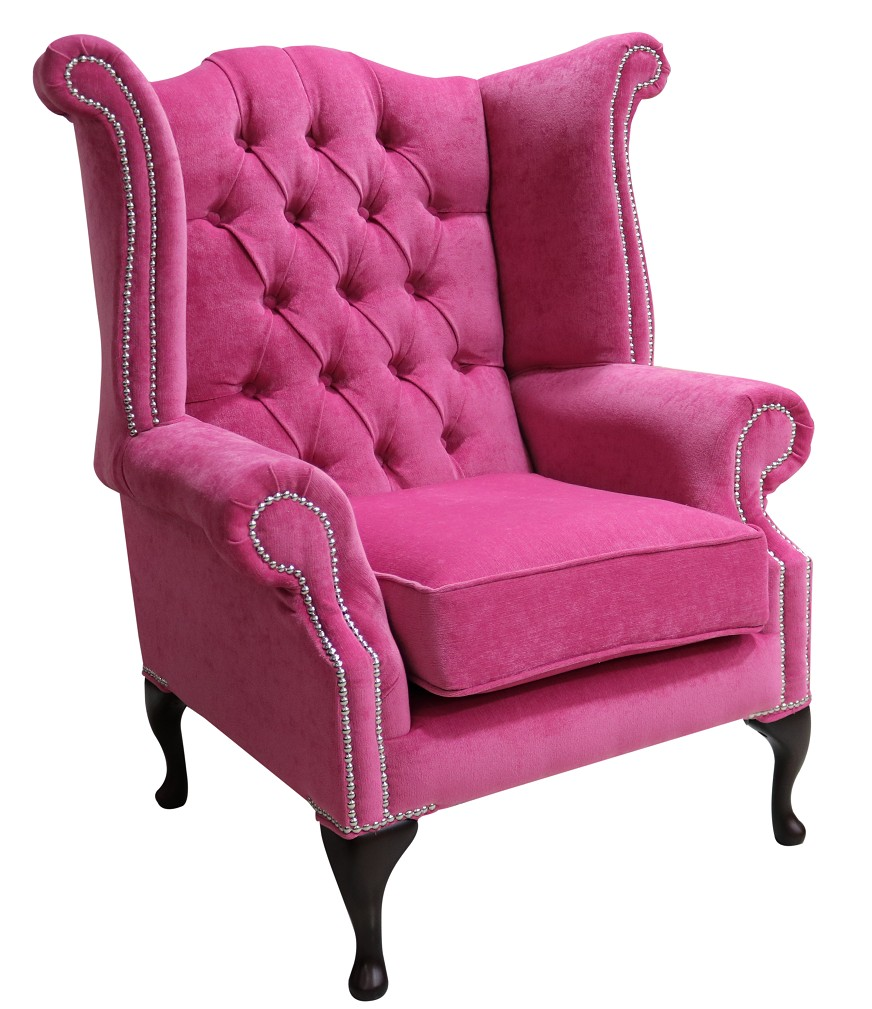 Luxury Chesterfield Queen Anne Fabric Wing Back Chair Shop