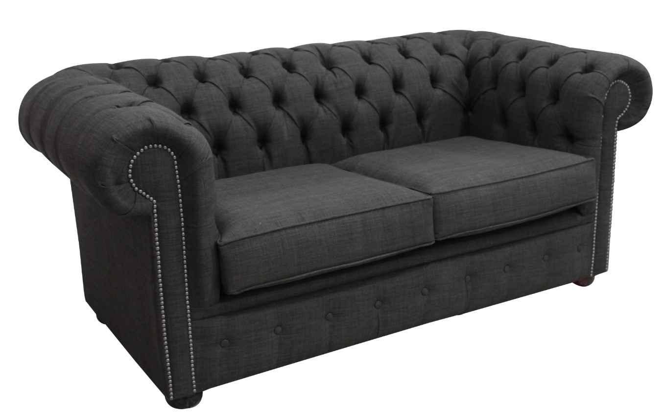 Buy Grey Fabric Chesterfield Linen Sofa Settee | DesignerSofas4U