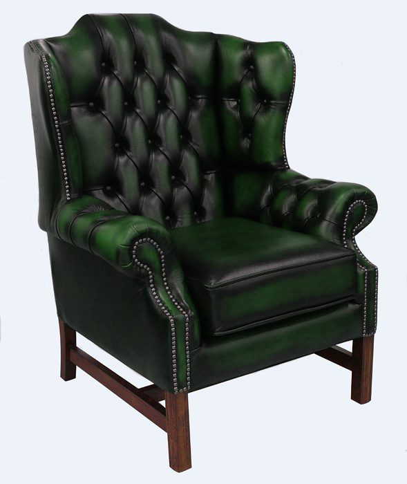 Swell Chesterfield Churchill High Back Wing Chair Cushioned Seat Antique Green Leather Camellatalisay Diy Chair Ideas Camellatalisaycom