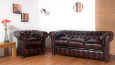Cromwell Chesterfield 3 + 1 Seater Antique Brown Leather Sofa Suites