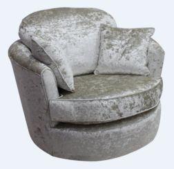 Cuddler Swivel Chair | Snuggle Swivel Armchair Senso Pearl Velvet Fabric