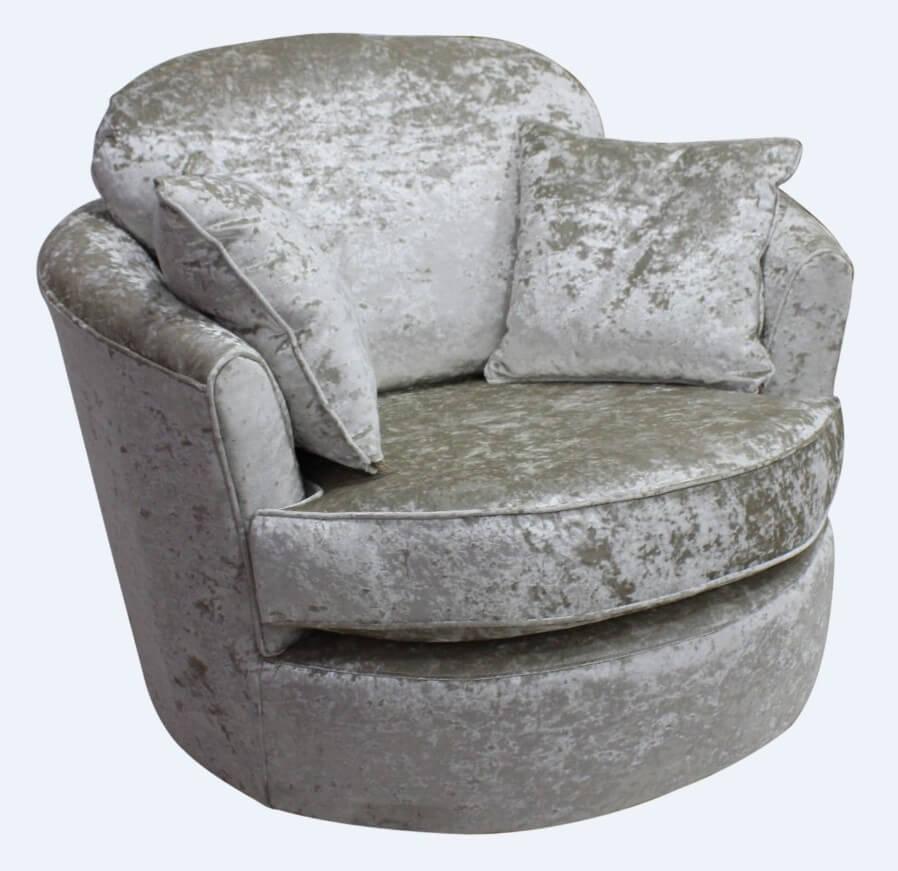 Fine Cuddler Swivel Chair Snuggle Swivel Armchair Senso Pearl Velvet Fabric Customarchery Wood Chair Design Ideas Customarcherynet