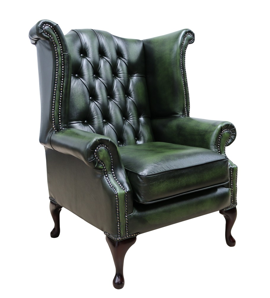 - Rub Off Georgian Antique Green Leather Chesterfield Queen Anne