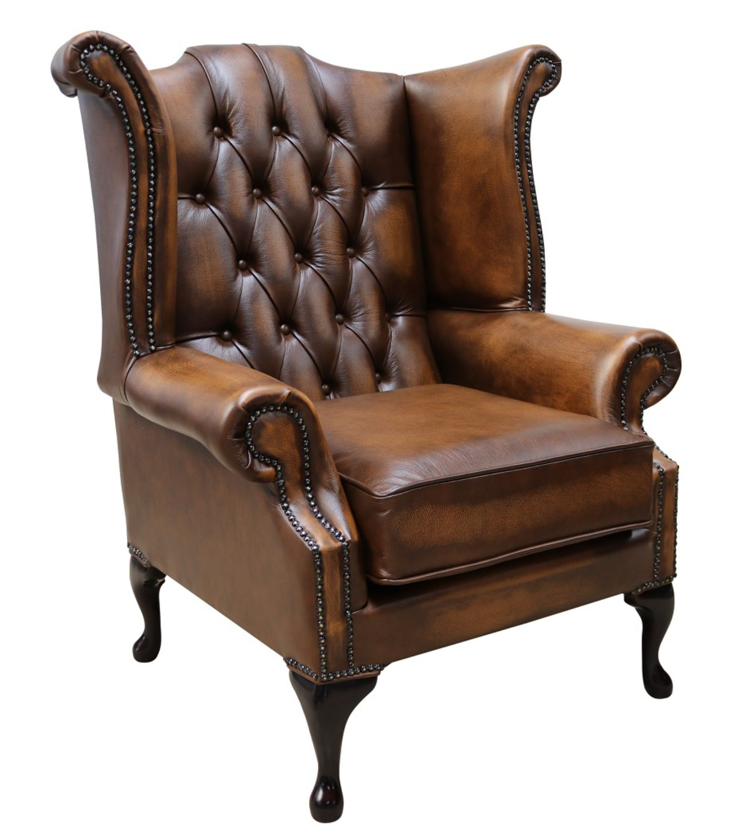 Tan Chesterfield Queen Anne Wing Chair Designersofas4u