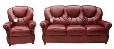Lucca 3+1 Genuine Italian Burgandy Leather Sofa Suite Offer