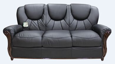 Lucca Genuine Italian Leather 3 Seater Sofa Settee Black