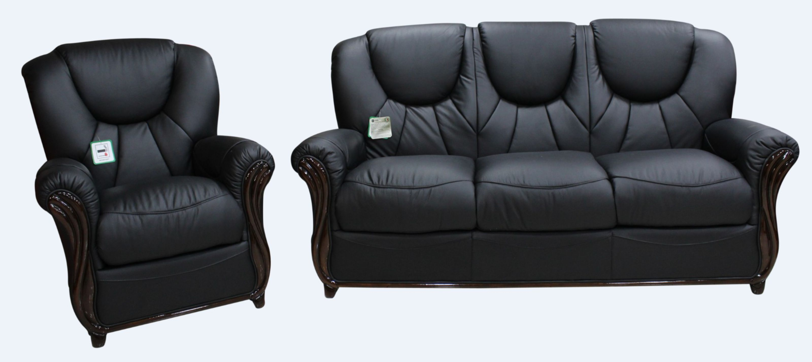 Lucca 3+1+1 Genuine Italian Black Leather Sofa Suite Offer