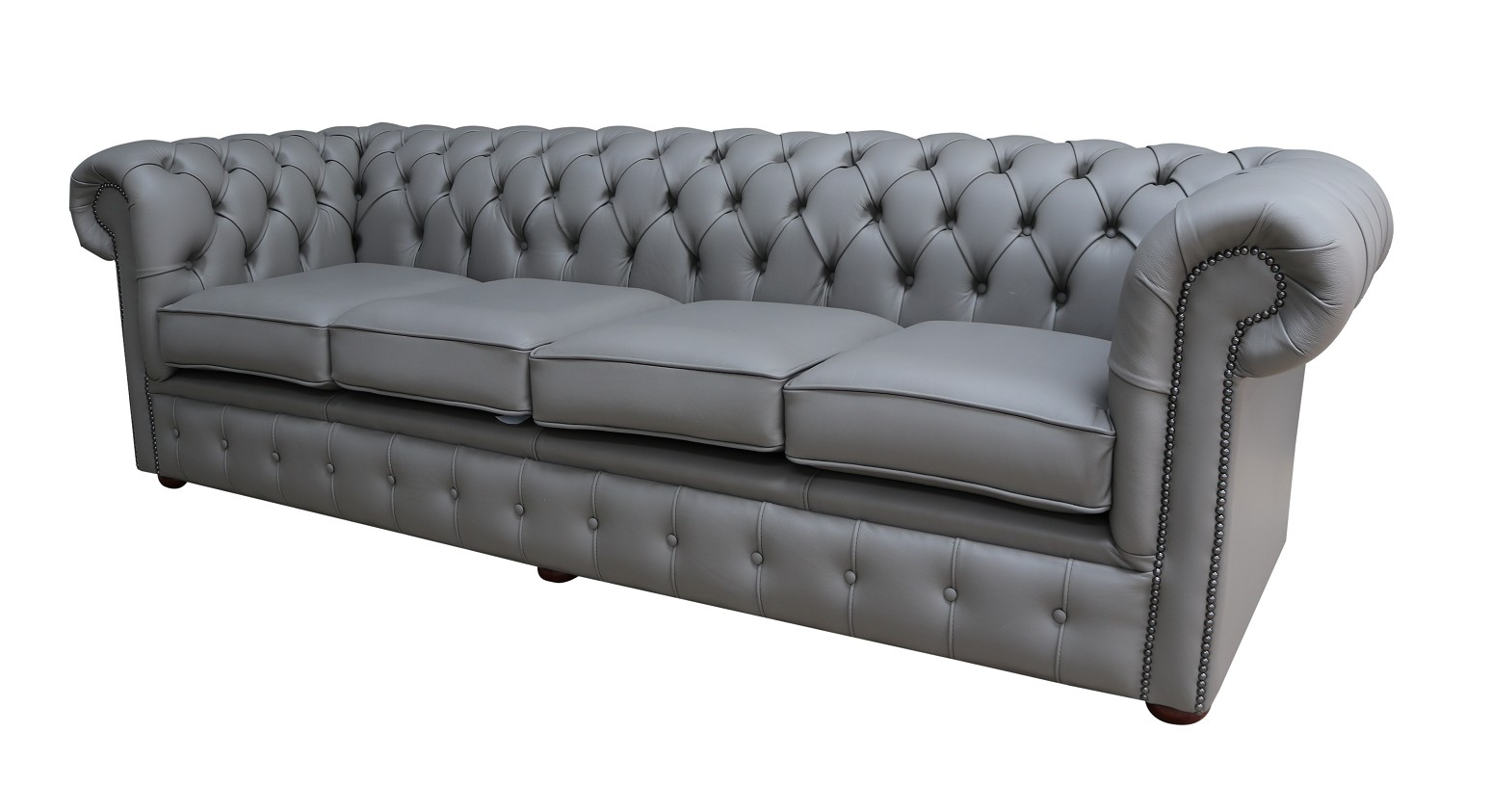 Chesterfield Uk Handmade 4 Seater Settee Couch Silver Grey Real Leather Sofa Ebay
