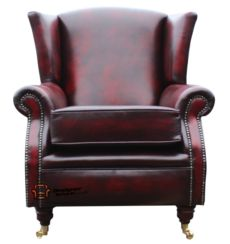 Southwold Wing Chair Fireside High Back Leather Armchair Antique Oxblood Leather