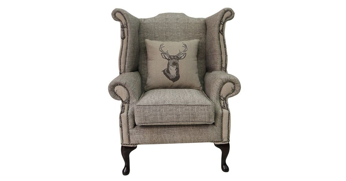 Chesterfield Saxon Queen Anne High Back Wing Chair Antler