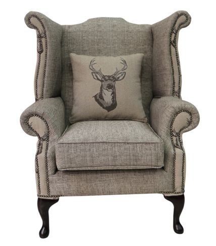 Chesterfield Saxon Queen Anne High Back Wing Chair Antler Stag Chocolate Brown Fabric