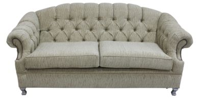Victoria 3 Seater Chesterfield Sofa Camden Ripple Honey Fabric