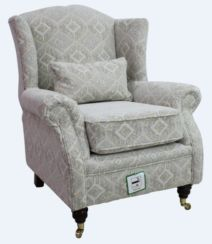 Wing Chair Fireside High Back Armchair Capella Oatmeal Fabric