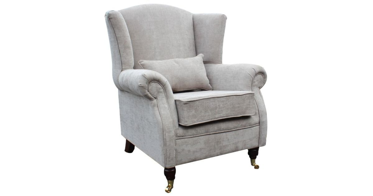 Wing Chair Fireside High Back Armchair Velluto Hessian