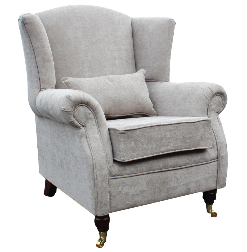 Wing chair fireside high back armchair velluto hessian for Armchair with high back
