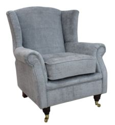 Wing Chair Fireside High Back Armchair Velluto Slate Fabric