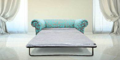 Chesterfield 1930's 2 Seater Sofabed Orchard Leaf Turquoise Fabric