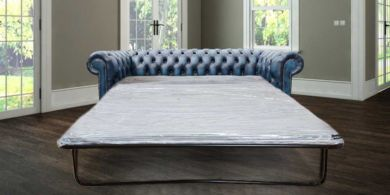 Chesterfield 3 Seater Antique Blue Leather SofaBed Offer