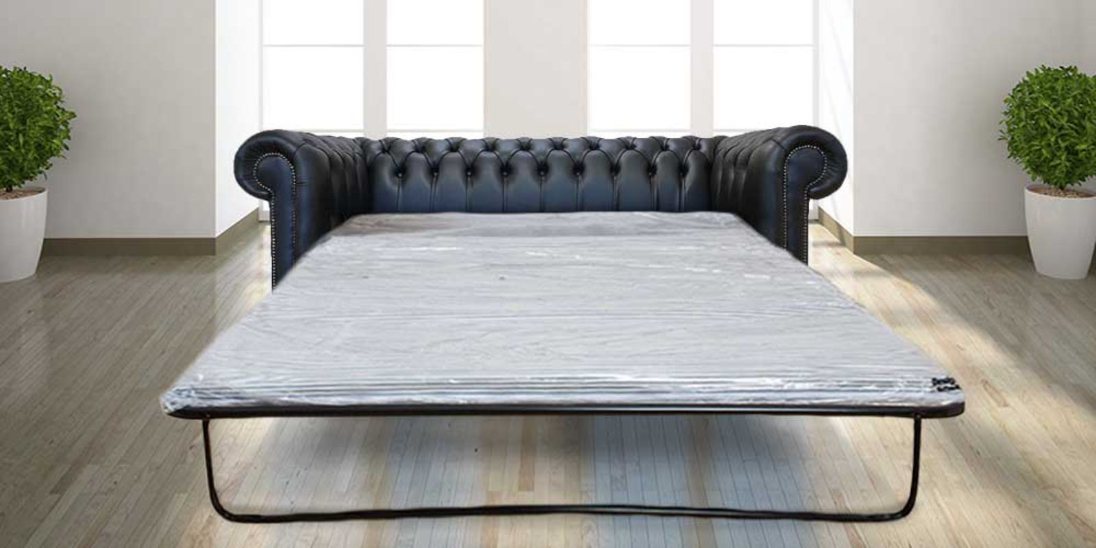 Image of Chesterfield 3 Seater Black Leather SofaBed Offer