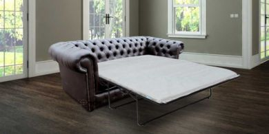 Chesterfield 3 Seater Espresso Brown Faux Leather SofaBed Offer