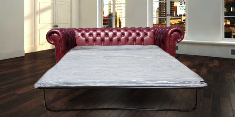 Chesterfield 3 Seater Settee Old English Burgandy Leather SofaBed