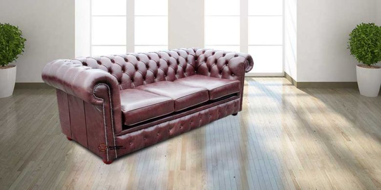 Chesterfield 3 Seater Settee Old English Red Brown Leather SofaBed