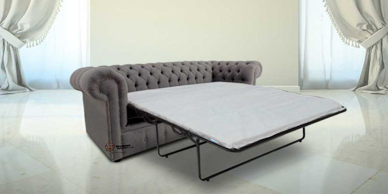 Chesterfield 3 Seater Settee Proposta Steel Grey Fabric SofaBed Offer