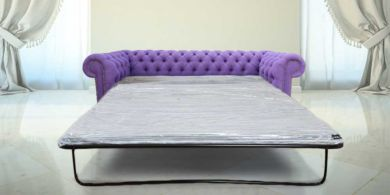 Chesterfield 3 Seater Settee Verity Plain Purple Fabric SofaBed Offer
