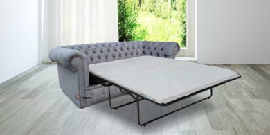 Chesterfield 3 Seater Settee Verity Plain Steel Fabric SofaBed Offer