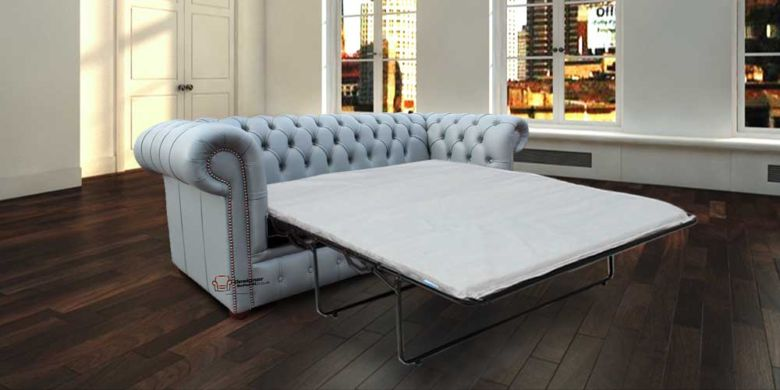 Chesterfield 3 Seater Settee Iron Grey Leather SofaBed Offer