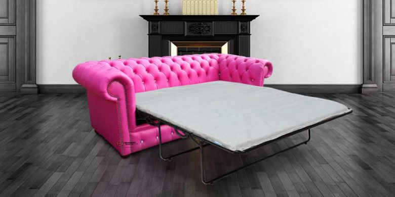 Chesterfield 3 Seater CRYSTALLIZED™ Diamond Fuchsia Pink Leather SofaBed Offer