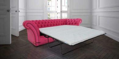 Chesterfield Balmoral 3 Seater Sofabed Settee Azzuro Fuchsia Pink Red Fabric