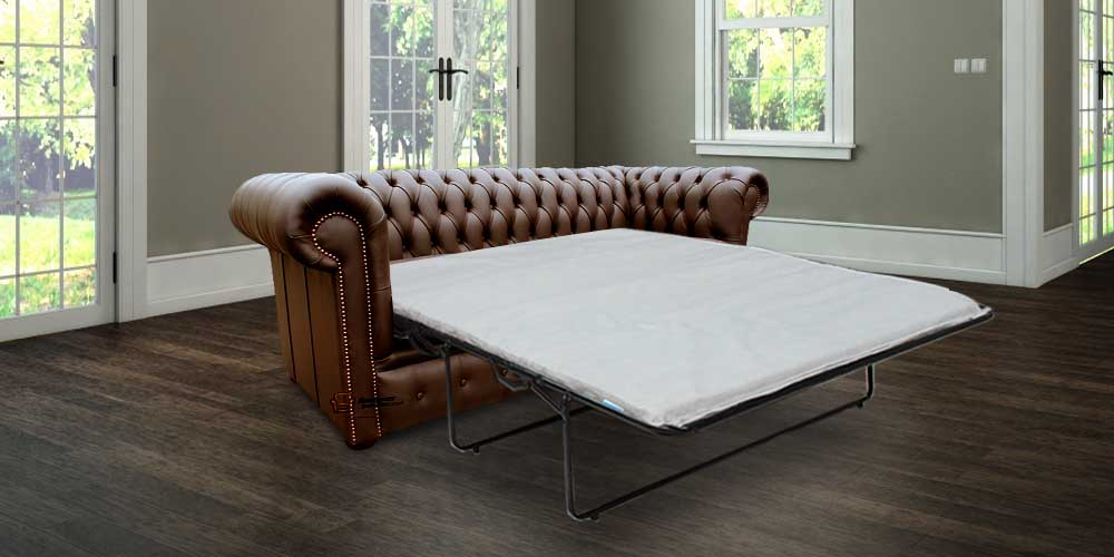 Chesterfield london 3 Seater Brown Leather SofaBed Settee Offer