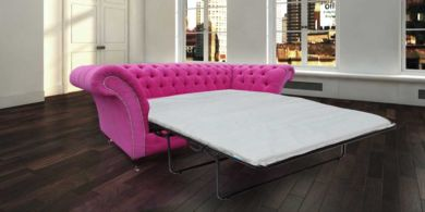 Chesterfield Rutland Balmoral 3 Seater Pink Fuchsia Fabric SofaBed