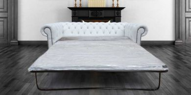Chesterfield Crystal Diamond White Leather SofaBed Offer