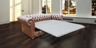 Chesterfield Heaton 3 Seater Sofabed Settee Antique Brown