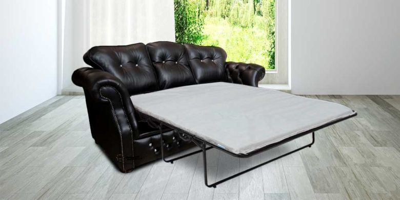 Era Crystal 3 Seater Sofabed Settee Traditional Chesterfield Black Leather