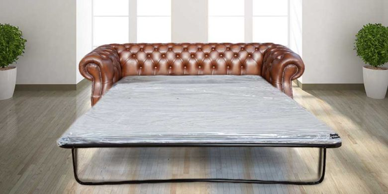 Graham Chesterfield 3 Seater Antique Tan Leather Sofabed Settee Offer