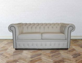 Chesterfield 2 Seater Crystal Diamond Leather Cream Sofa Offer